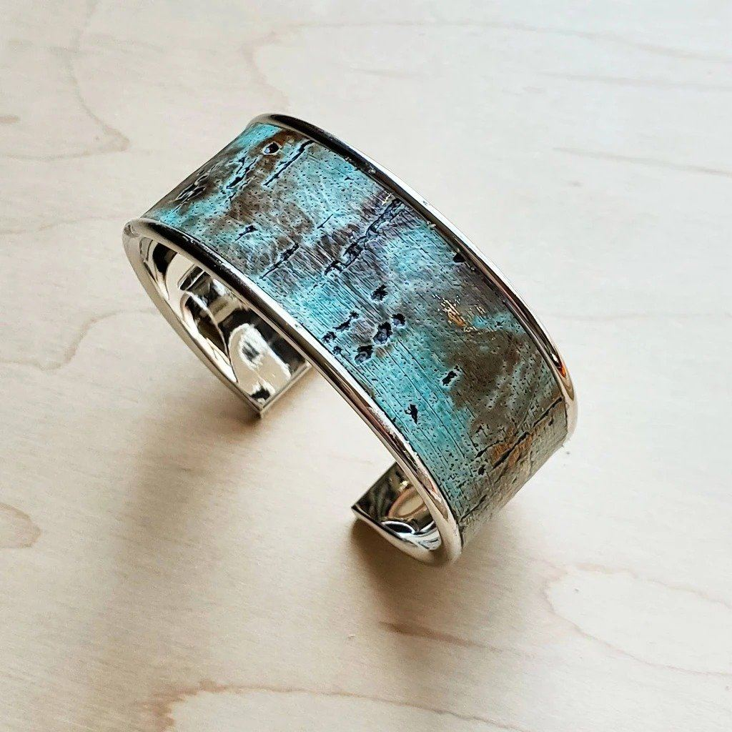 Turquoise Metallic Leather Narrow Cuff
