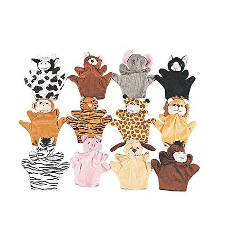 12 Assorted Hand Puppet Animals