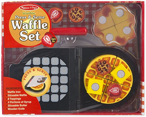 Wooden Press and Serve Waffle Set