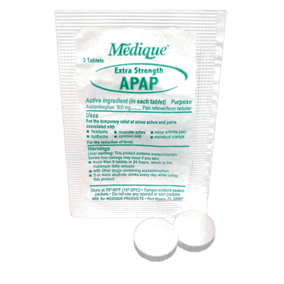 Medique APAP Extra Strength Pain Reliever & Fever Reducer (2 Per Packet) CruisePaks