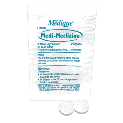 Medique Medi-Meclizine Motion Sickness Relief & Prevention (2 Per Packet) CruisePaks