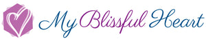 My Blissful Heart Logo - script font with a double heart icon