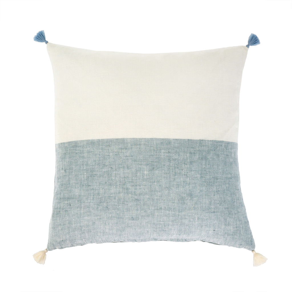 Layla Linen Pillow Blue/Coral/Green