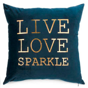Dark Blue Live Love Velvet Cusion