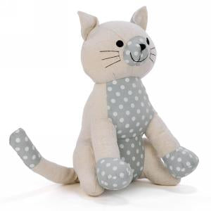 Cream Cat Door Stopper With Polka Dots