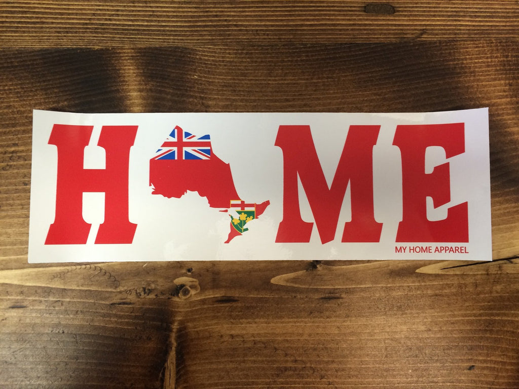 Ontario HOME Bumper Sticker Flag With White Background
