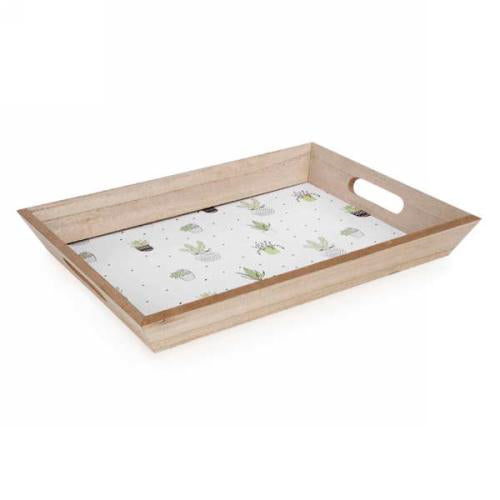 Cactus Motif Platter in White & Natural
