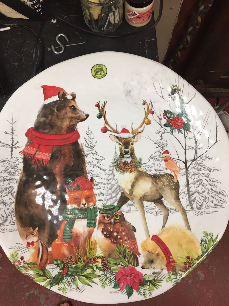 Christmas Party Melamine Serveware Large Round Platter