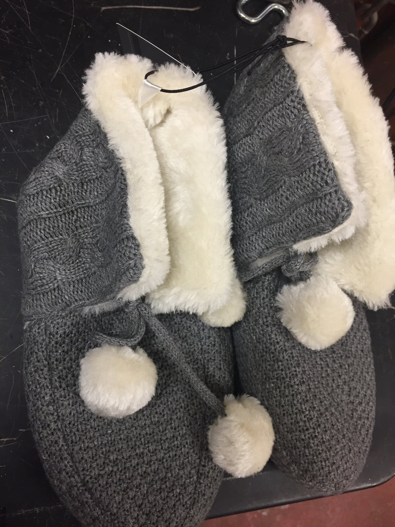 Grey and White Knit Slippers