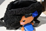 African American Backpack Doll (Blue Dress) Top View
