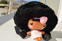 African American Backpack Doll (Pink Dress) Side View