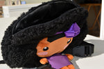 African American Backpack Doll (Purple Dress) Top View