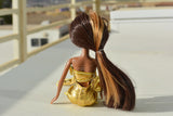 African American Mermaid Princess Doll (Gold Dress)