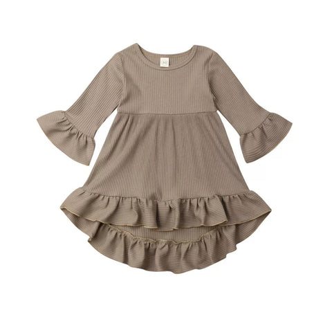 Neutral Ruffle Dress