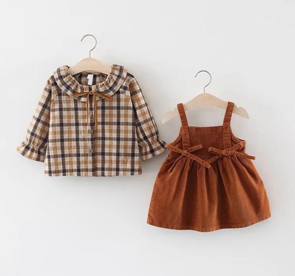 The Corduroy and Plaid Set Overall Dress