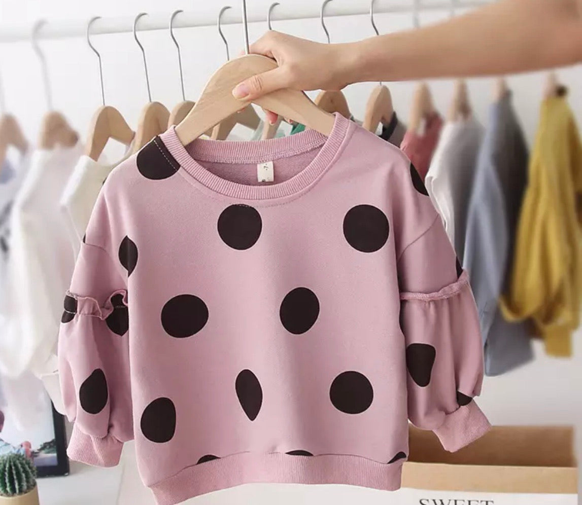 Polka Dot Ruffle Sweater