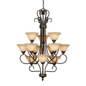 Golden - 7623 RBZ-TEA - 12 Light Chandelier - Multi-Family - Rubbed Bronze