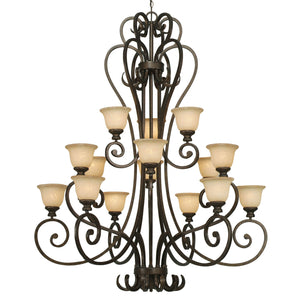 Golden - 8063-15L BUS - 15 Light Chandelier - Heartwood - Burnt Sienna