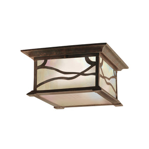 Kichler - 9838DCO - Two Light Outdoor Ceiling Mount - Morris - Distressed Copper