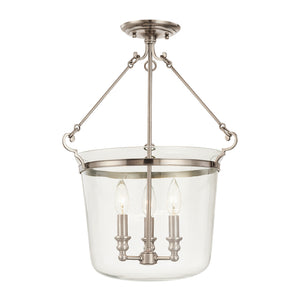 Hudson Valley - 132-HN - Three Light Semi Flush Mount - Quinton - Historic Nickel