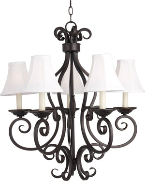 Maxim - 12215OI/SHD123 - Five Light Chandelier - Manor - Oil Rubbed Bronze