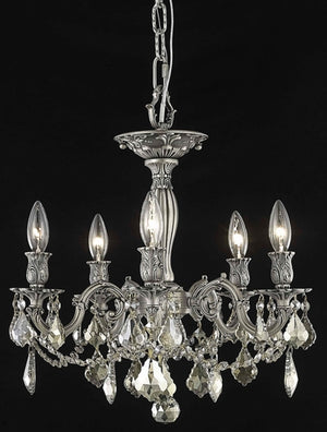 Elegant Lighting - 9205F18PW-GT/SS - Five Light Flush Mount - Rosalia - Pewter
