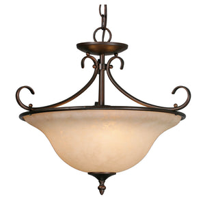 Golden - 8606-SF RBZ-TEA - Three Light Semi-Flush (Convertible) - Homestead - Rubbed Bronze
