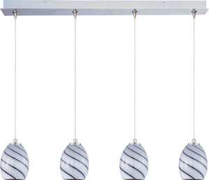 ET2 - E94937-108SN - Four Light Pendant - Swirl - Satin Nickel