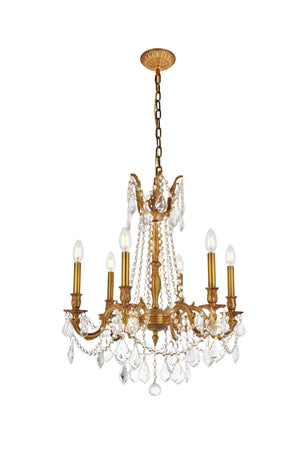 Elegant Lighting - 9206D23FG/SS - Six Light Chandelier - Rosalia - French Gold