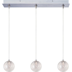 ET2 - E94872-79 - Three Light Linear Pendant - Starburst - Satin Nickel and Chrome