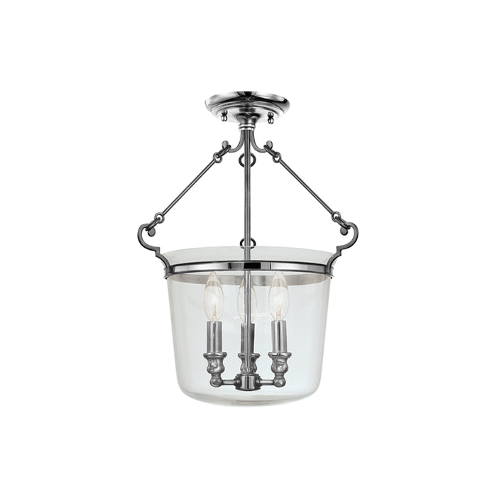 "Hudson Valley Three Light Semi Flush Mount 14.00"" Polished Nickel"