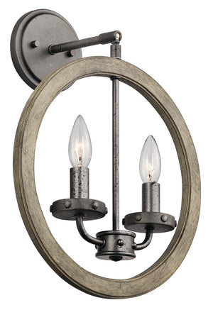 Kichler - 43328DAG - Two Light Mini Pendant/Wall Mount - Evan - Distressed Antique Gray