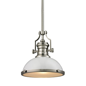 Elk Lighting - 66525-1 - One Light Pendant - Chadwick - Gloss White, Satin Nickel
