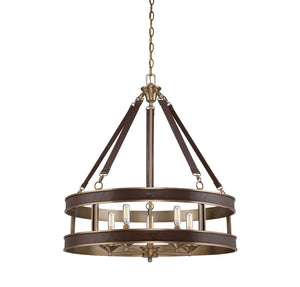 Savoy House - 7-611-5-50 - Five Light Pendant - Harrington - Harness Leather w/ Rubbed Brass