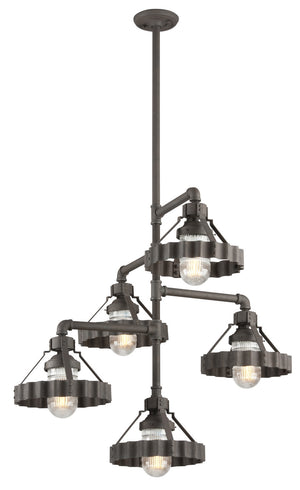 Troy Lighting - F4247 - Five Light Chandelier - Canary Wharf - Burnt Sienna