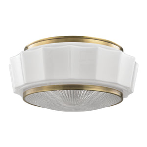 Hudson Valley - 3816F-AGB - Three Light Flush Mount - Odessa - Aged Brass