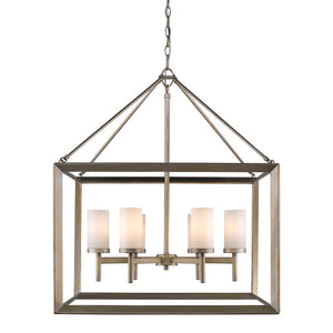Golden - 2073-6 WG - Six Light Chandelier - Smyth WG - White Gold