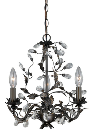 Vaxcel - H0149 - Three Light Chandelier - Trellis - Architectural Bronze w/ Gold Accents