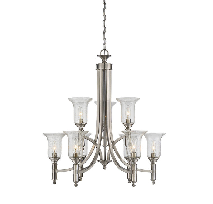"Savoy House Nine Light Chandelier 27.50"" Satin Nickel"