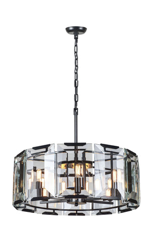 Elegant Lighting - 1211D26FB - Six Light Chandelier - Monaco - Flat Black (Matte)