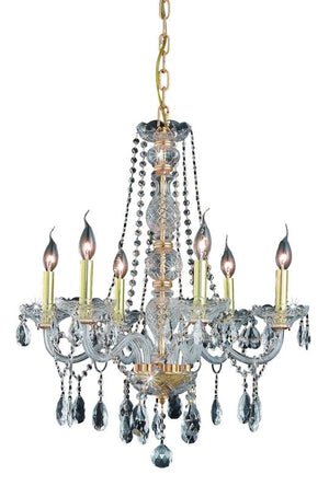 Elegant Lighting - 7956D24G/RC - Six Light Chandelier - Verona - Gold