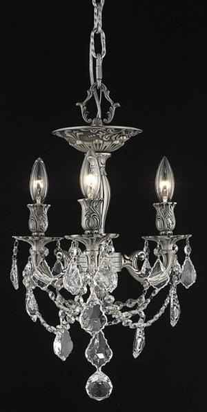 Elegant Lighting - 9203F13PW/SS - Three Light Flush Mount - Rosalia - Pewter
