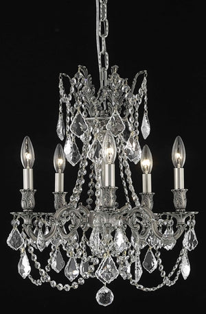 Elegant Lighting - 9205D18PW/EC - Five Light Pendant - Rosalia - Pewter