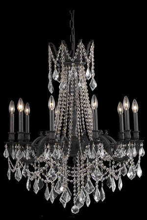 Elegant Lighting - 9210D28DB/EC - Ten Light Chandelier - Rosalia - Dark Bronze