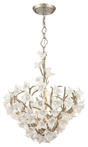 Corbett Lighting - 211-47 - Six Light Pendant - Lily - Enchanted Silver Leaf