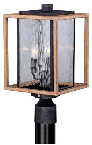 Vaxcel - T0240 - Three Light Outdoor Post Mount - Modoc - Textured Dark Bronze/Distressed Oak
