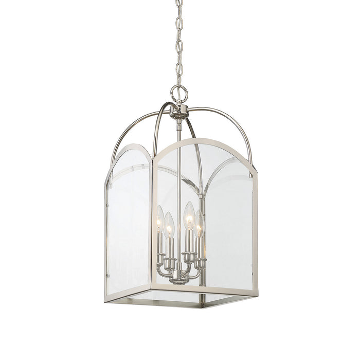 "Savoy House Four Light Foyer Pendant 12.00"" Polished Nickel"