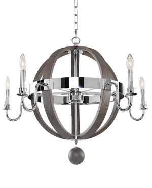 Kalco - 300481CH - Five Light Chandelier - Sharlow - Chrome