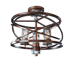 Kalco - 6605EZ - Three Light Semi Flush Mount - Eternity - Etruscan Bronze