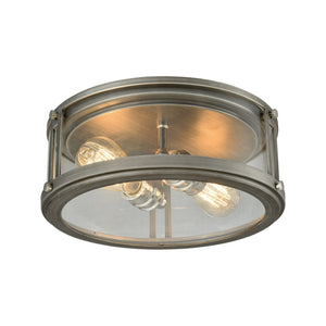 Elk Lighting - 11880/2 - Two Light Flush Mount - Coby - Polished Nickel, Weathered Zinc